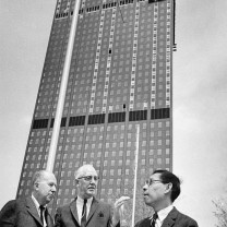 Master planner I. M. Pei (right), Cleveland's urban renewal director James Lister (center) and chief architect Jack Hayes at the Erieview Tower construction site, 1954