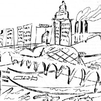 "Halprin's impressionist sketch of Cleveland's ""Flats,"" which he praised as a ""tremendous resource."""