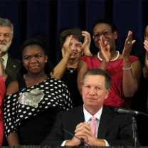 Ohio governor John Kasich at the signing of House Bill 525, legislation enabling education reform, in June 2012
