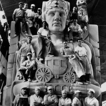 Support for humanitarian aid to the unemployed: Stone carvers responsible for the iconic pylons of the Lorain-Carnegie Bridge, a rare Depression-era construction project completed in 1932 with bond funds approved before the stock market crash