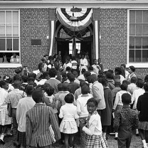 An east-side Cleveland elementary school, 1963: growing frustration with what appears to be systematic segregation