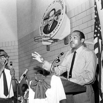 Carl B. Stokes at a town hall meeting, 1969: an historic but troubled mayoral administration