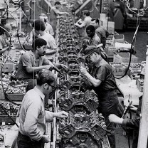 An assembly line at the Ford Motor Company plant in Brook Park, 1973: manufacturing jobs on the decline