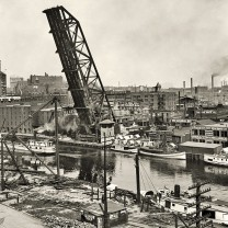 Cleveland's busy riverfront, south of the Superior Viaduct