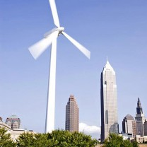 The Great Lakes Science Center's wind turbine