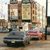 A greasy-spoon diner and flophouse at Payne and Walnut Avenues downtown, c. 1968—emblems of the City of Cleveland's intensifying financial distress