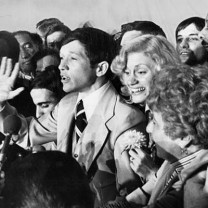 Kucinich proclaiming victory on the eve of his election as mayor in 1977